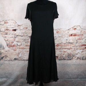 Ralph Lauren RRL Black Silk Flutter Sleeve Dress
